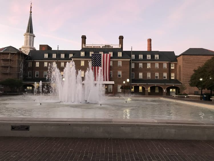 Fountain in front of historical building in Alexandria, VA