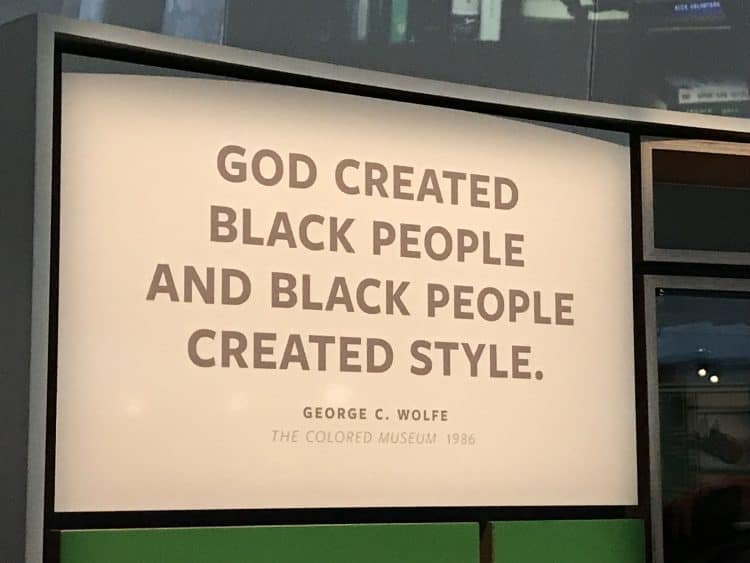 Signage about Black style NMAAHC