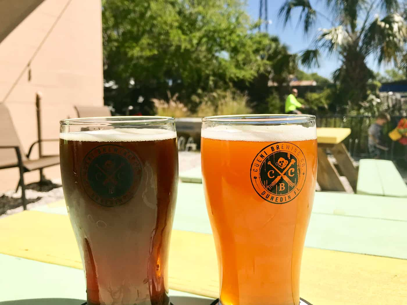Beers on the back patio of Cueni Brewing Co, craft brewery in Dunedin FL