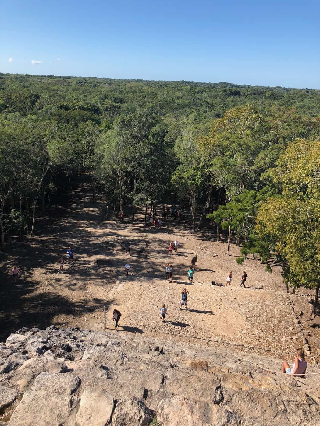 View from halfway up of Coba pyramid