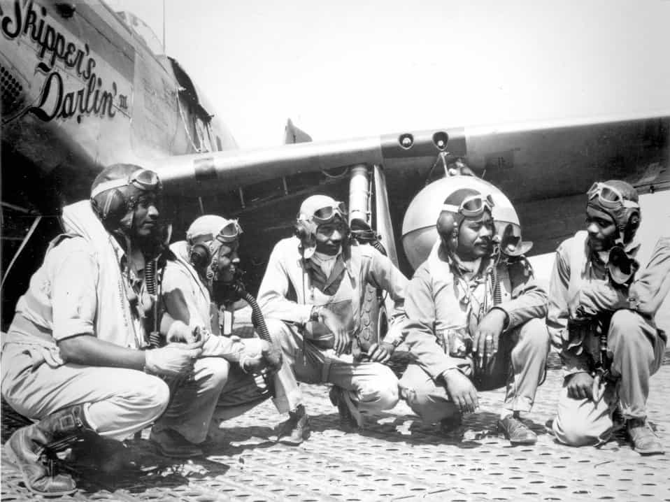 Photo of Tuskegee Airmen in WWII